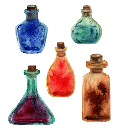 Watercolor hand drawn little bottles of glass in different shapes and colors.