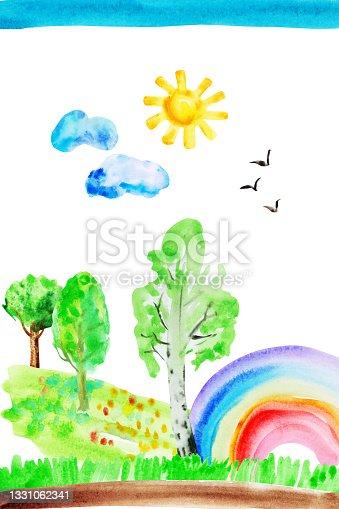 istock Watercolor hand drawn naive kids drawing with rainbow, sun, sky, birds, tree, grass 1331062341