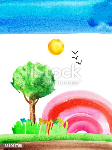 istock Watercolor hand drawn naive kids drawing with rainbow, sun, sky, birds, tree, grass and meadow 1331064766