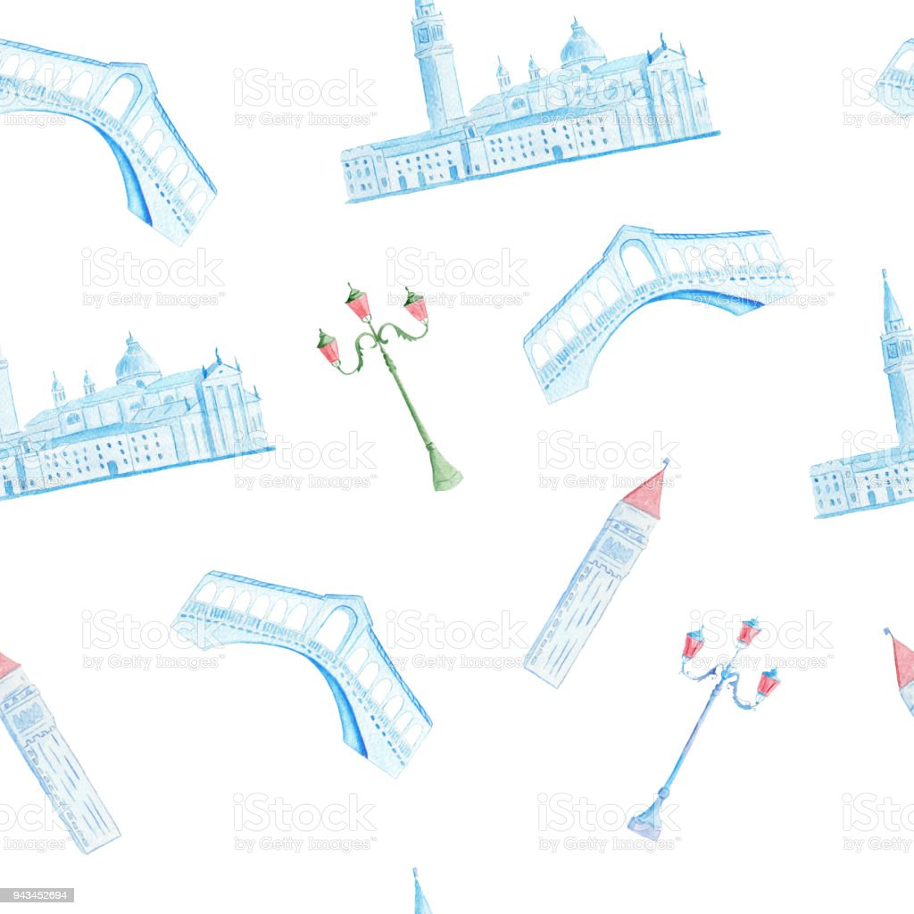 Watercolor hand drawn painting with venetian Rialto bridge and Saint Mark place vector art illustration
