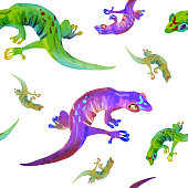 Watercolor hand drawn seamless pattern of different color lizards on white background.