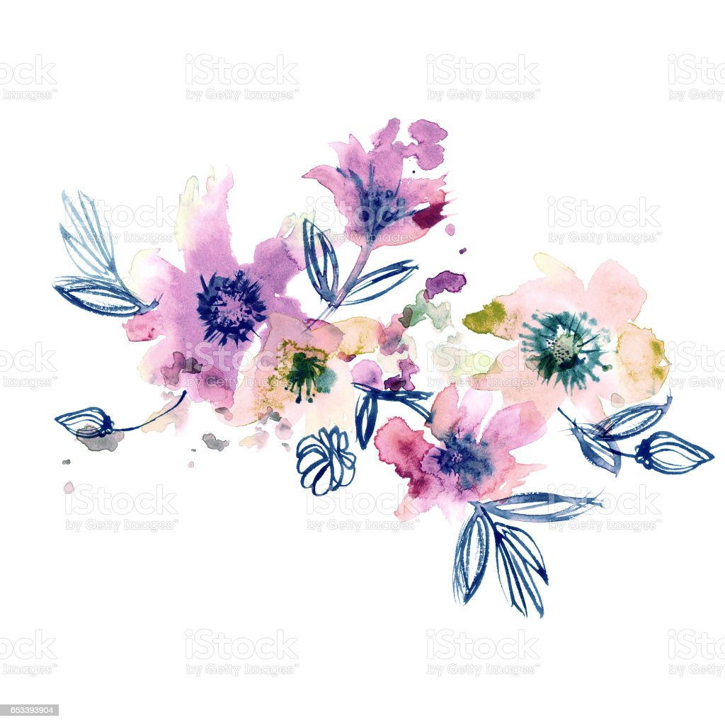 Watercolor hand painted abstract spring flowers on a white watercolor hand painted abstract spring flowers on a white background royalty free watercolor hand painted mightylinksfo