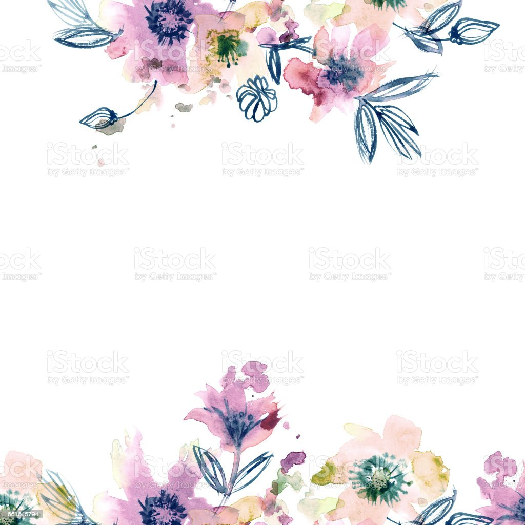 Watercolor Hand Painted Abstract Spring Flowers On A White ...
