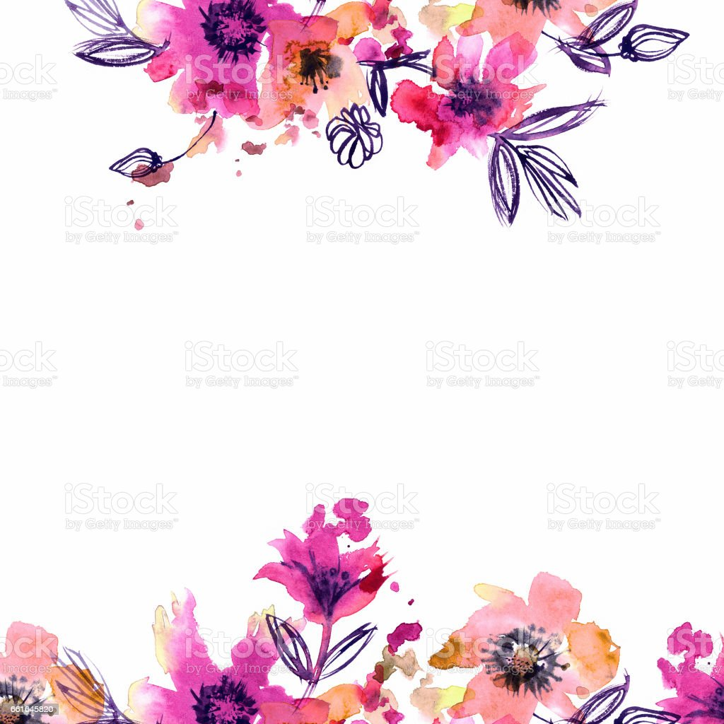 watercolor hand painted abstract spring flowers on a white