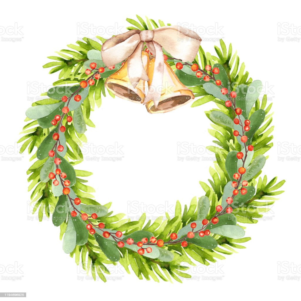 Watercolor Hand Painted Botanical Christmas Tree Holiday Wreath Illustration Isolated On White Background Stock Illustration Download Image Now Istock