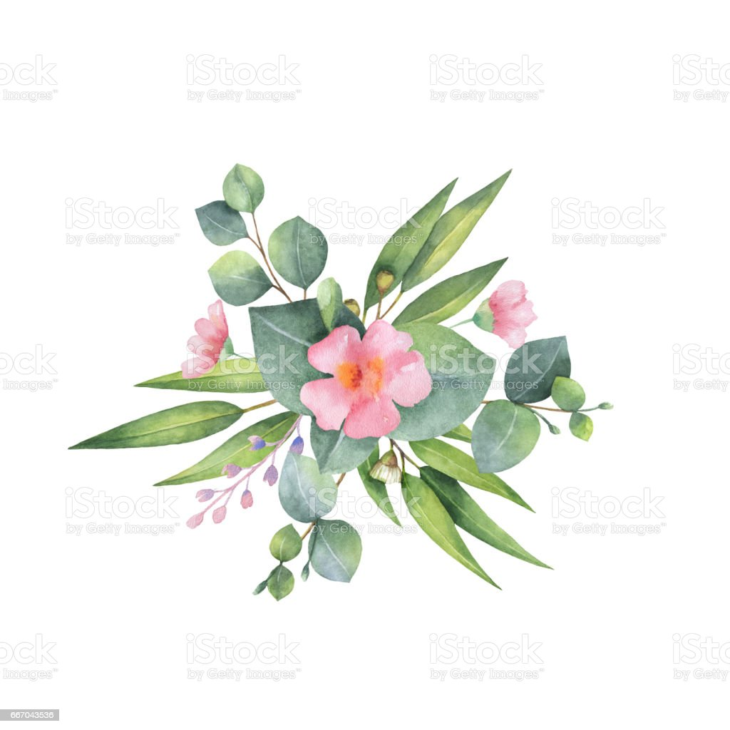 Watercolor Hand Painted Bouquet With Green Eucalyptus And ...