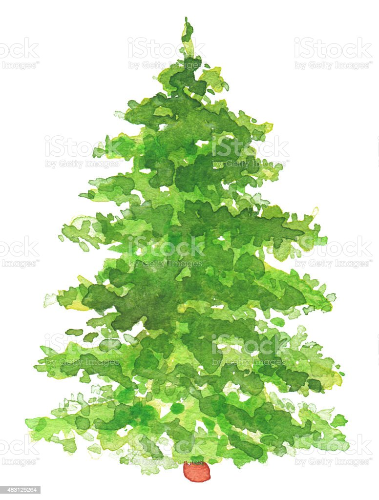 watercolor hand painted christmas tree royalty free watercolor hand painted christmas tree stock vector - How To Paint A Christmas Tree