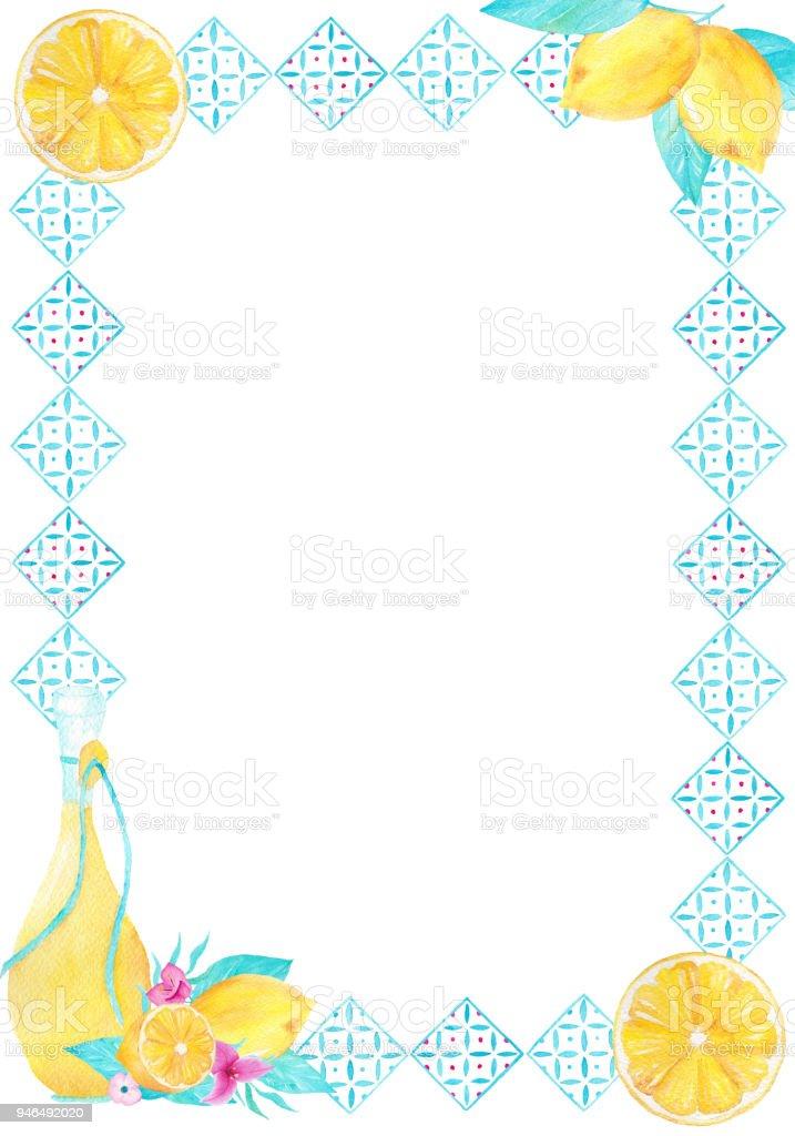 Suluboya El Dekoratif Cerceve Limon Ve Zeytin Yagi Ile Boyali