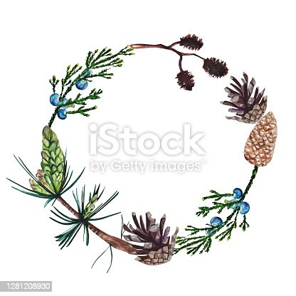 istock Watercolor hand painted forest wreath with pine, juniper, alder branches and cones. 1281208930