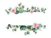 水彩の手描きのユーカリとピンクの花と緑の花バナー。