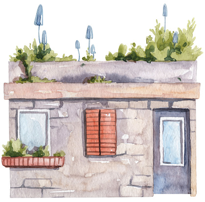 Watercolor hand painted house with shutters on window and garden on terrace