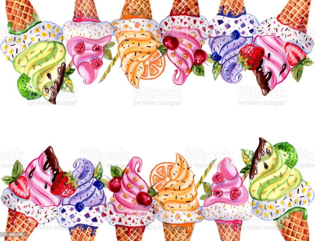 Dondurma Ile Suluboya El Boyali Illustrasyon Stok Vektor Sanati