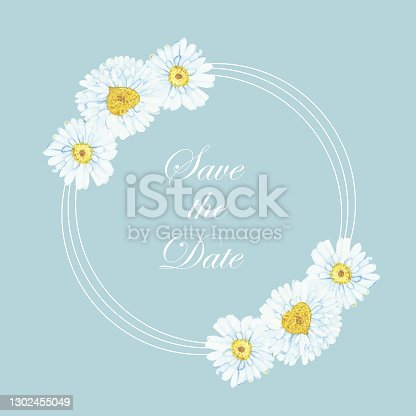 istock Watercolor hand painted nature floral frame with white petal, yellow center chamomile flower bouquet and white circle lines on the blue background for wedding invitation card with save the date text 1302455049