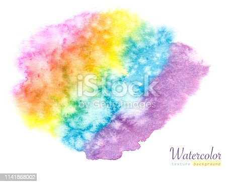 istock Watercolor hand painted rainbow abstract background. 1141868002