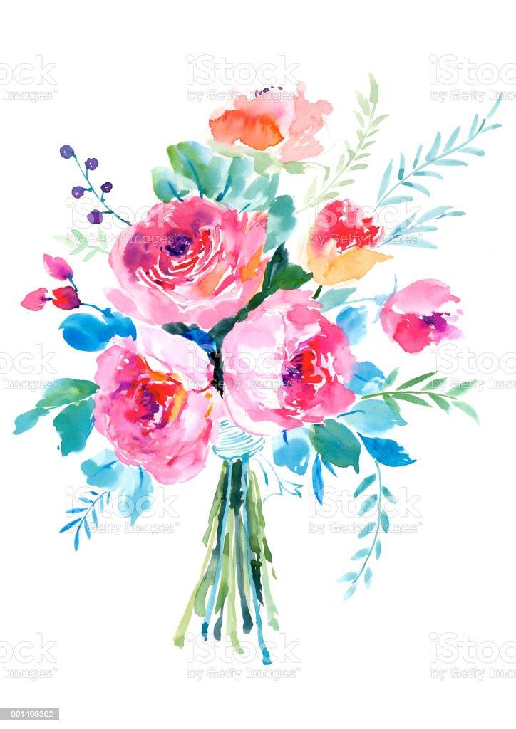 Watercolor hand painted rose bouquet - ilustración de arte vectorial