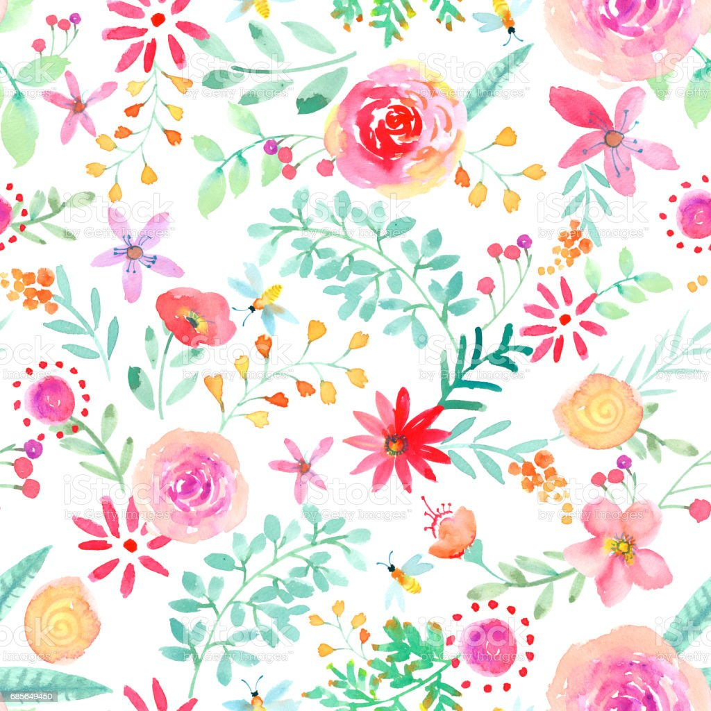Watercolor hand painted rose floral seamless pattern 免版稅 watercolor hand painted rose floral seamless pattern 向量插圖及更多 一朵花 圖片