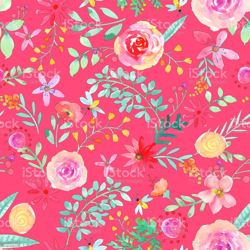 Watercolor hand painted rose floral seamless pattern royalty-free watercolor hand painted rose floral seamless pattern 금색에 대한 스톡 벡터 아트 및 기타 이미지