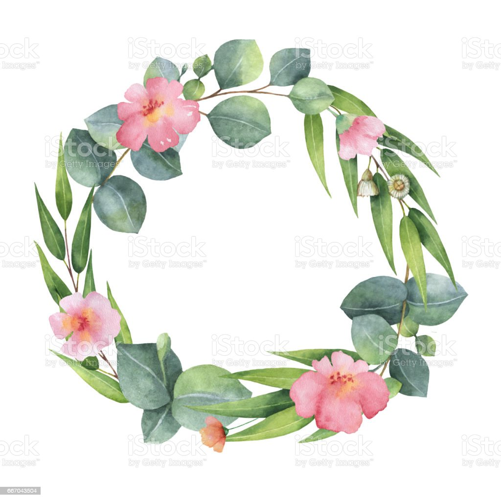 Watercolor hand painted round wreath with eucalyptus and pink flowers. vector art illustration