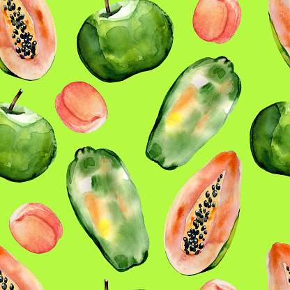 Watercolor hand painted seamless pattern with apples, peaches and papaya on green background.