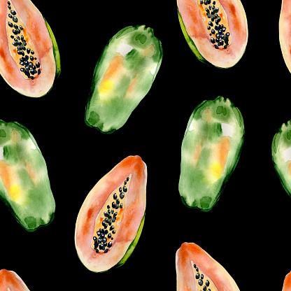 Watercolor hand painted seamless pattern with papaya on black background.
