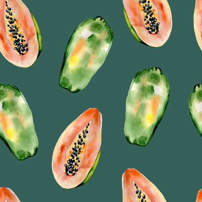 Watercolor hand painted seamless pattern with papaya on deep turquoise background.