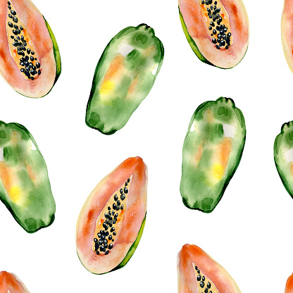 Watercolor hand painted seamless pattern with papaya on white background.