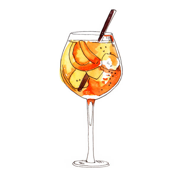 illustrazioni stock, clip art, cartoni animati e icone di tendenza di watercolor hand painted spritz cocktail simple sketch illustration - aperitivo
