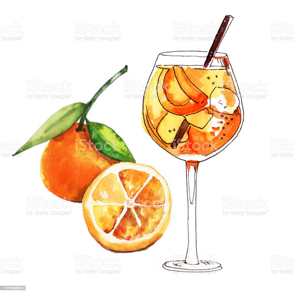 水彩の手描きのスプリッツ カクテル オレンジ色の果物の簡単なスケッチ図