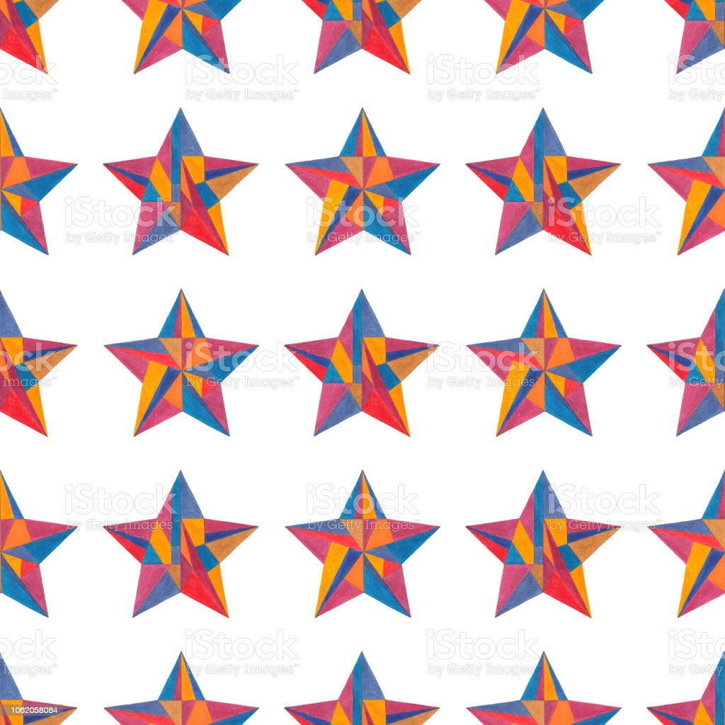 Watercolor Hand Painted Stars Seamless Pattern Abstract