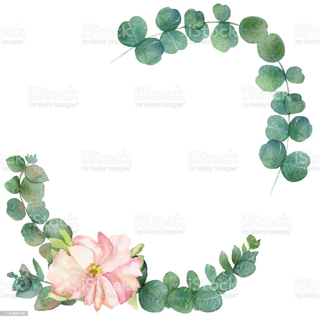 Feuille D Eucalyptus Bouquet aquarelle peinte À la main cadre bouquet dété avec des