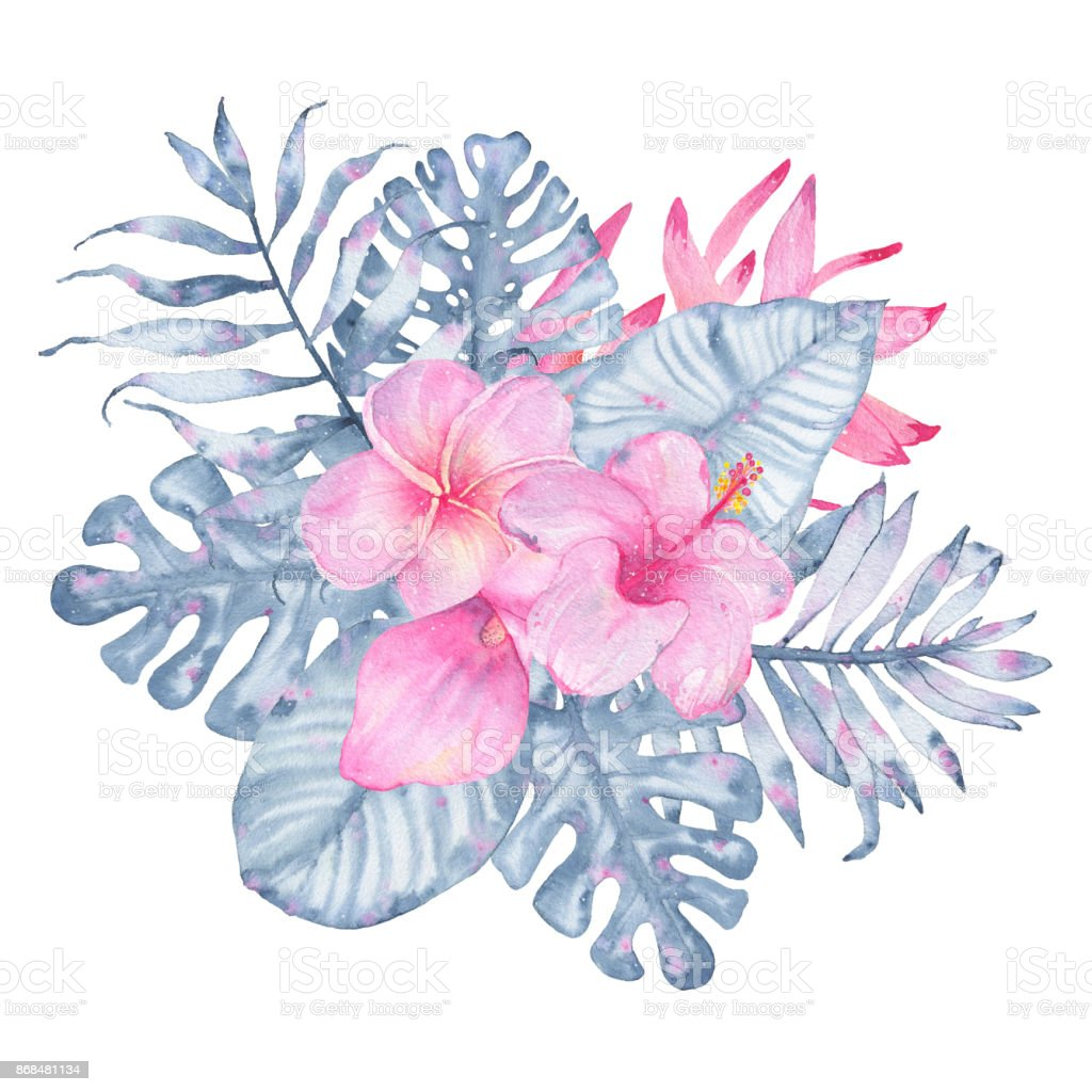 Watercolor Hand Painted Tropical Flower Bouquet Pink Calla Hibiscus ...