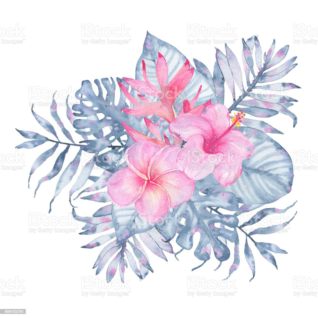 Watercolor Hand Painted Tropical Flower Bouquet Pink Heliconia