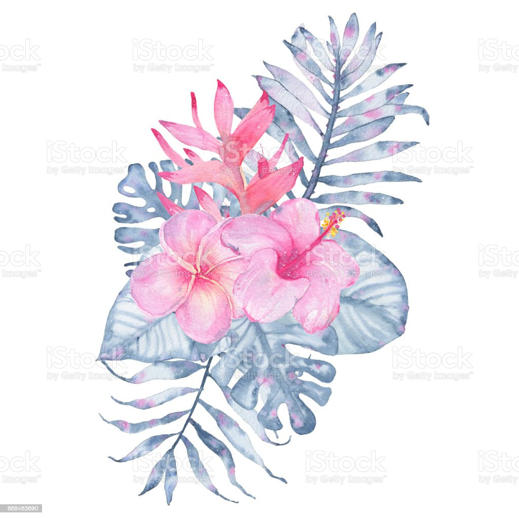 Watercolor Hand Painted Tropical Flower Bouquet Pink Heliconia ...