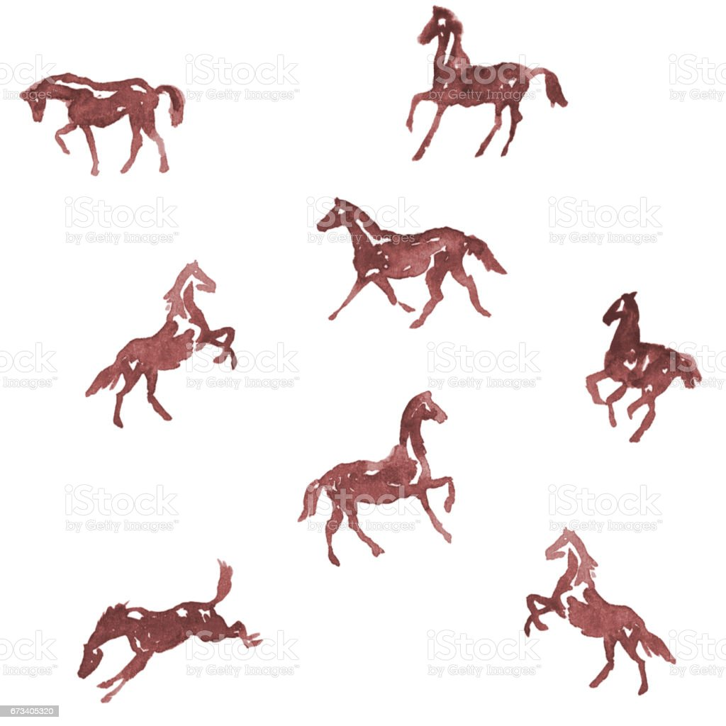 Watercolor hand painting horses pattern. Hand drawing background. vector art illustration