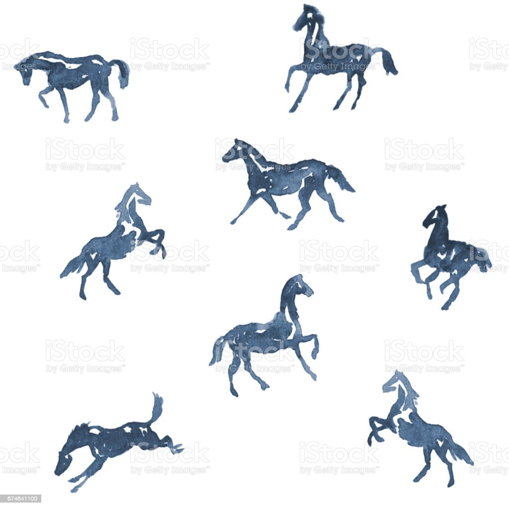 Watercolor Hand Painting Horses Pattern Hand Drawing Background Stock Illustration Download Image Now Istock