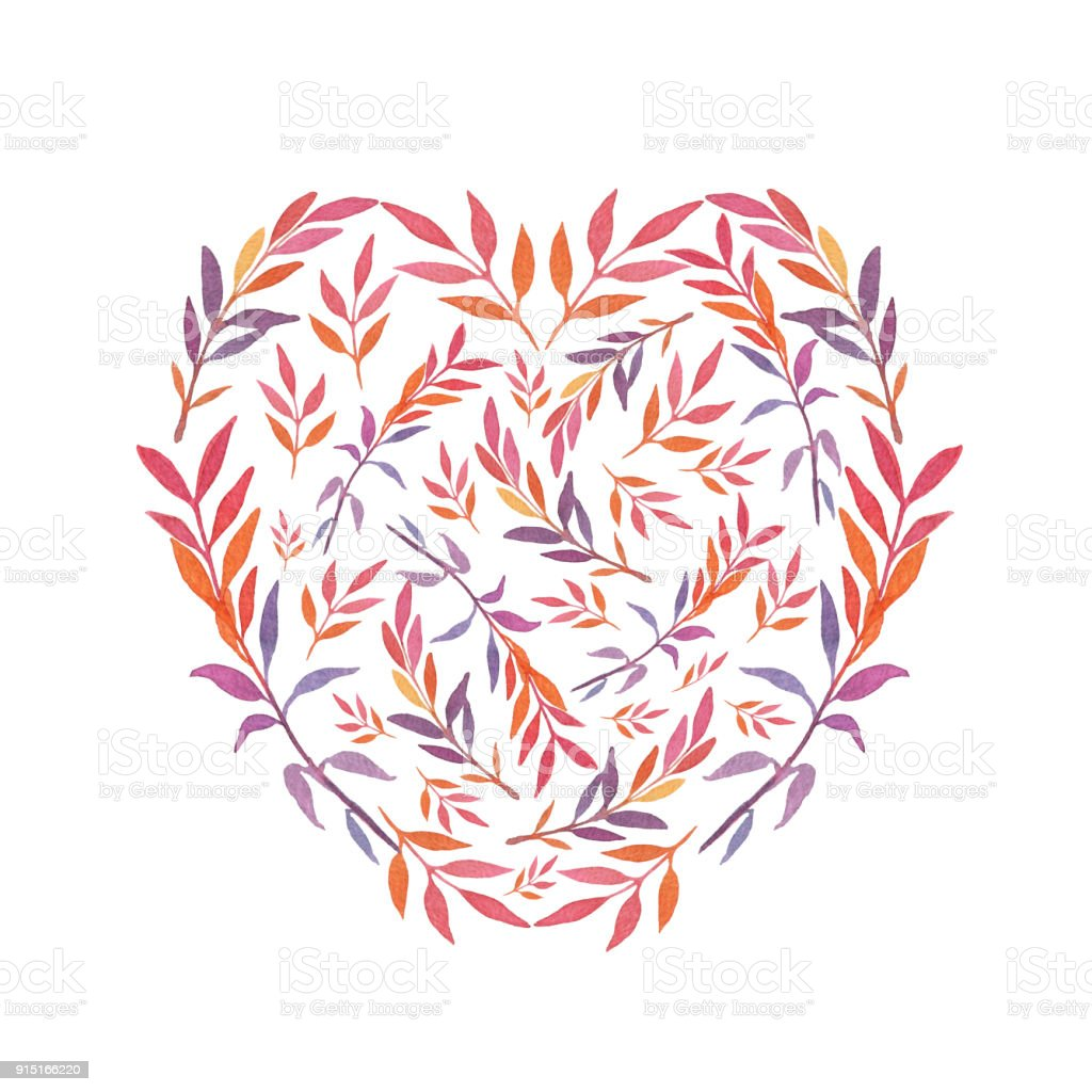 Watercolor Handdrawn Heart Shaped Template With Colorful Leaves