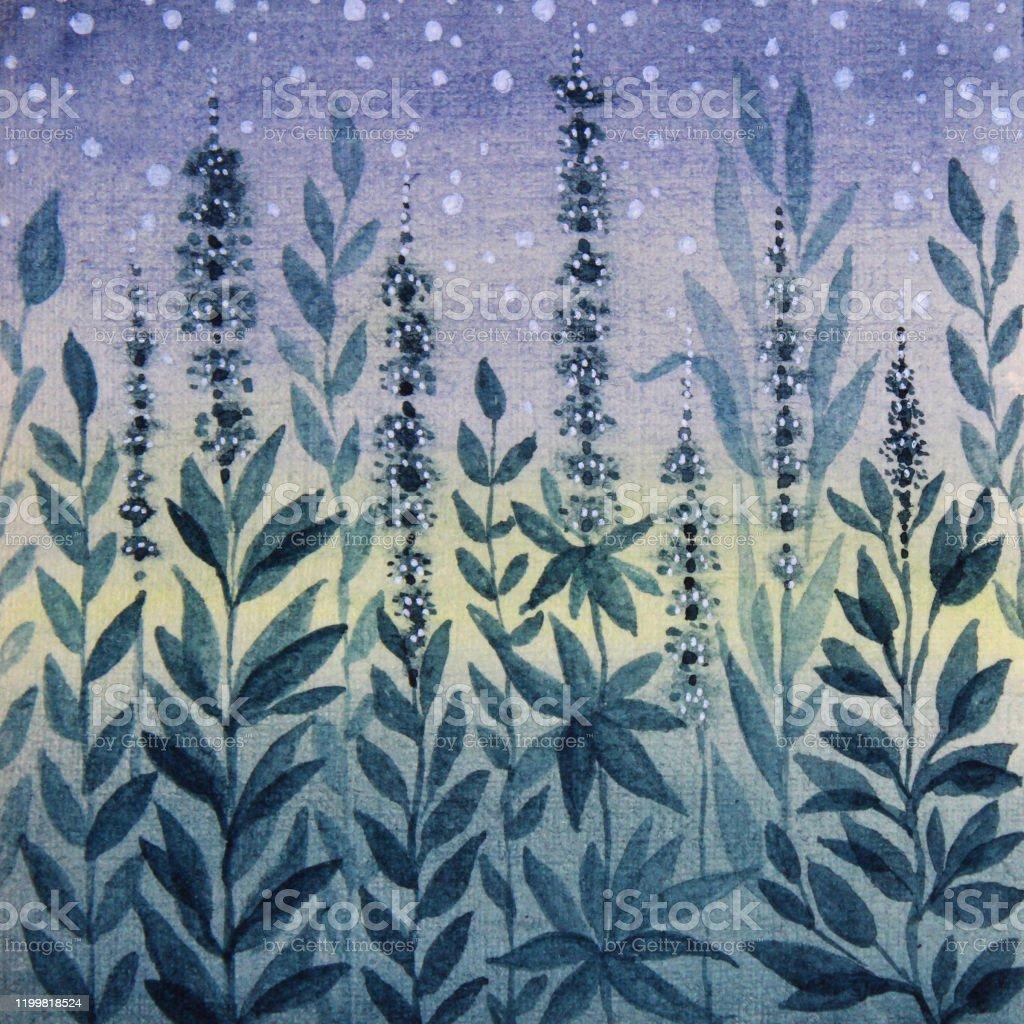 Aquarell Handgezeichnete Illustration Blaue Blatter Und Blumen Kunst Hintergrund Stock Vektor Art Und Mehr Bilder Von Abstrakt Istock