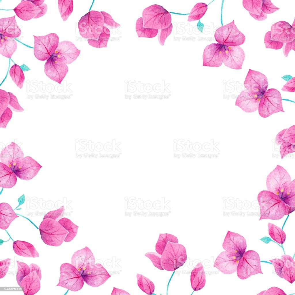 Suluboya el yapımı bouganvillea çiçek çerçeve kenarlığı. Davetiyeleri, düğün, süslemeleri, kartlar, için mükemmel duvar kağıtları. vektör sanat illüstrasyonu