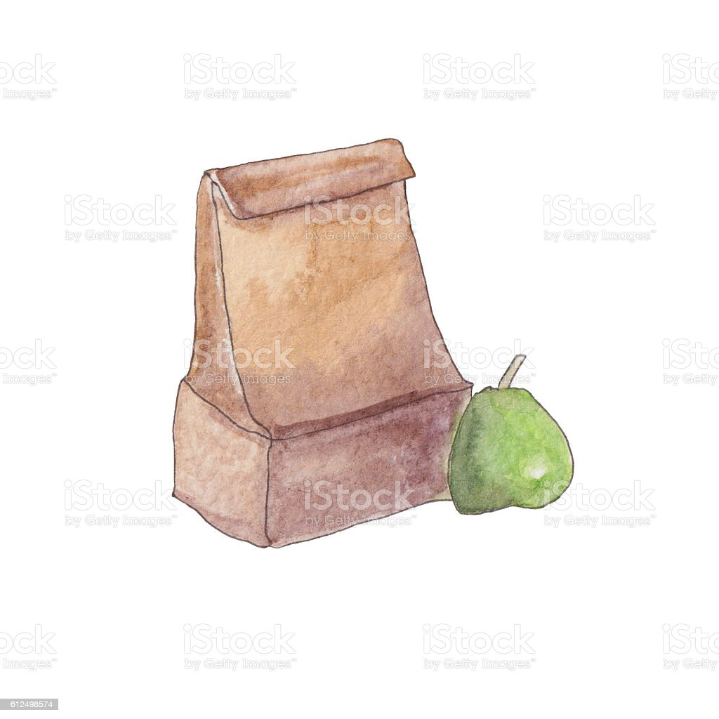 Watercolor handpaint lunch bag with green pear vector art illustration