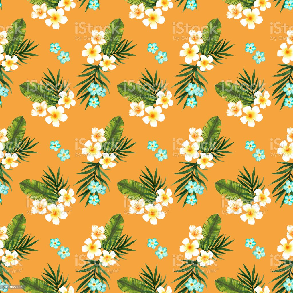 Watercolor hand-painted botany tropical flowers and leaves illustration seamless pattern vector art illustration