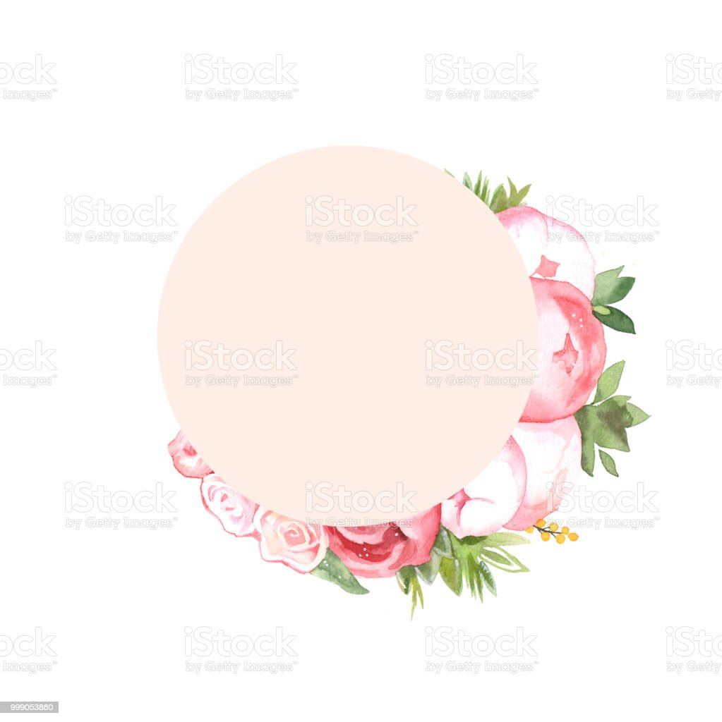 Watercolor Handpainted Flower Peony Circle Wedding