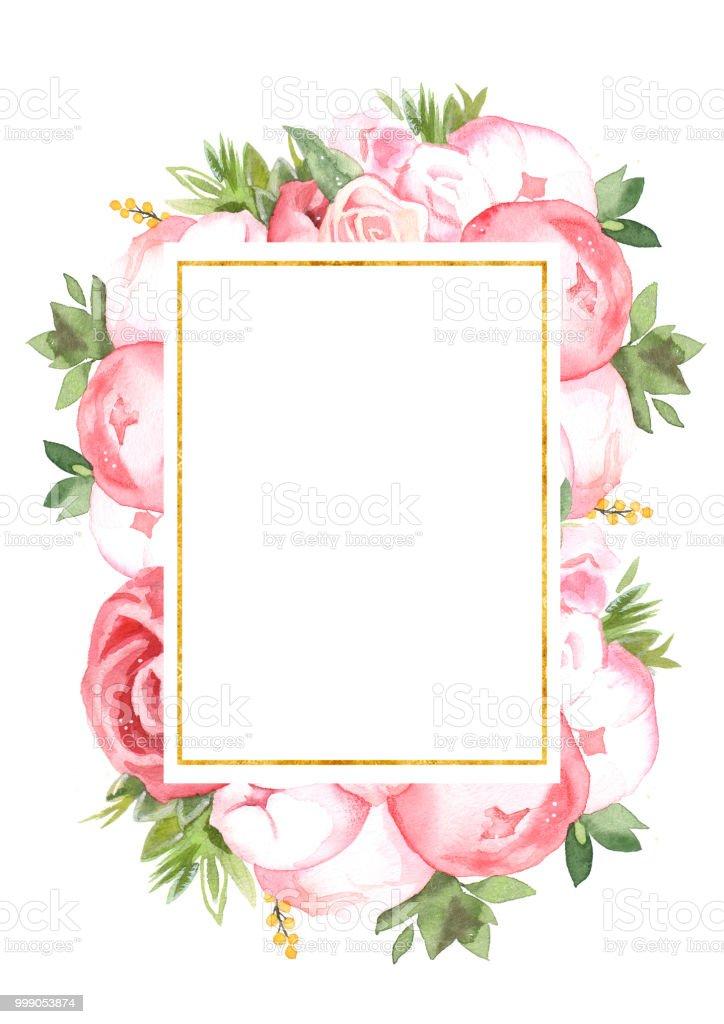 Watercolor Handpainted Flower Peony Wedding Invitation Card
