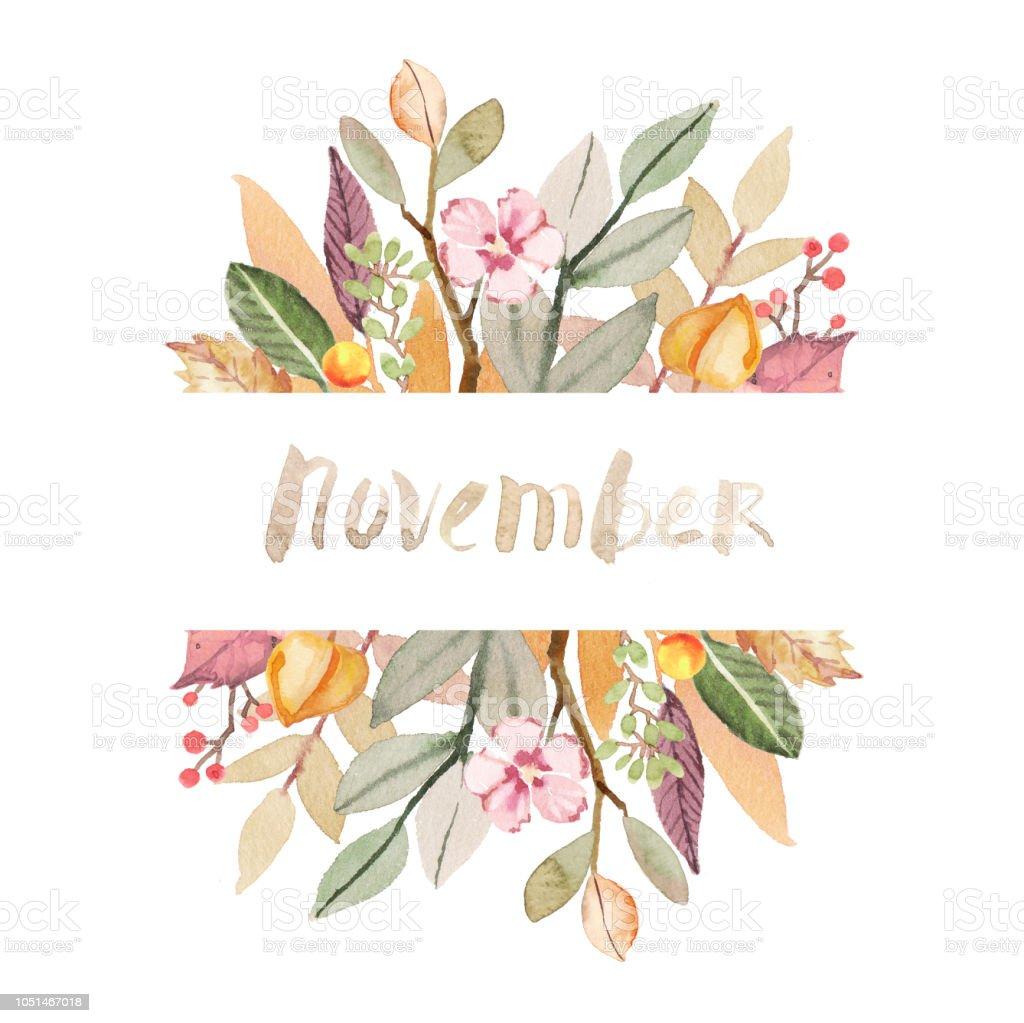 Aquarell Herbstblätter Handbemalte November Zusammensetzung