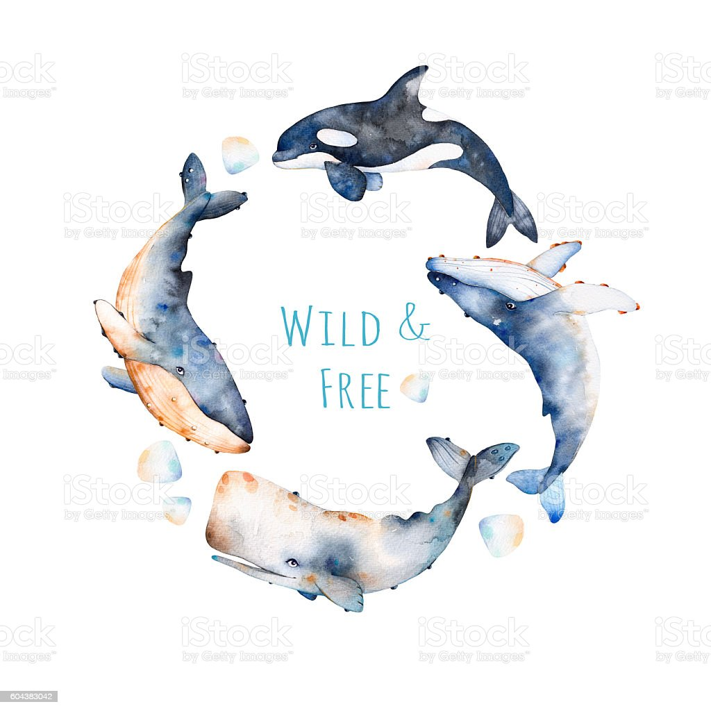 Watercolor handpainted pre-made template card with text. - ilustración de arte vectorial