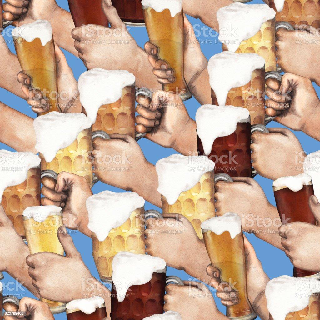 Watercolor hands with beer vector art illustration