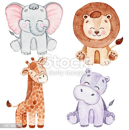 watercolor happy african animals set isolated on white background