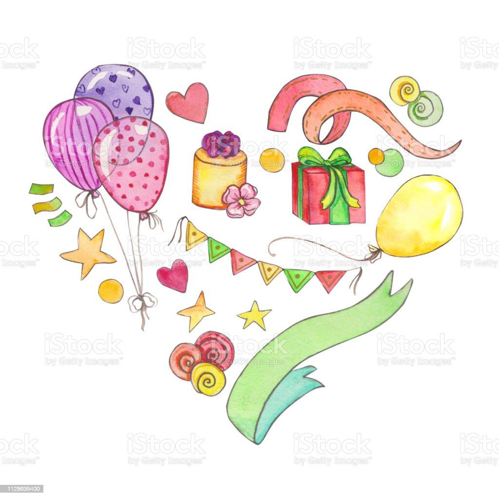 Aquarell Happy Birthday Party Clip Art Vorlage Lizenzfreies