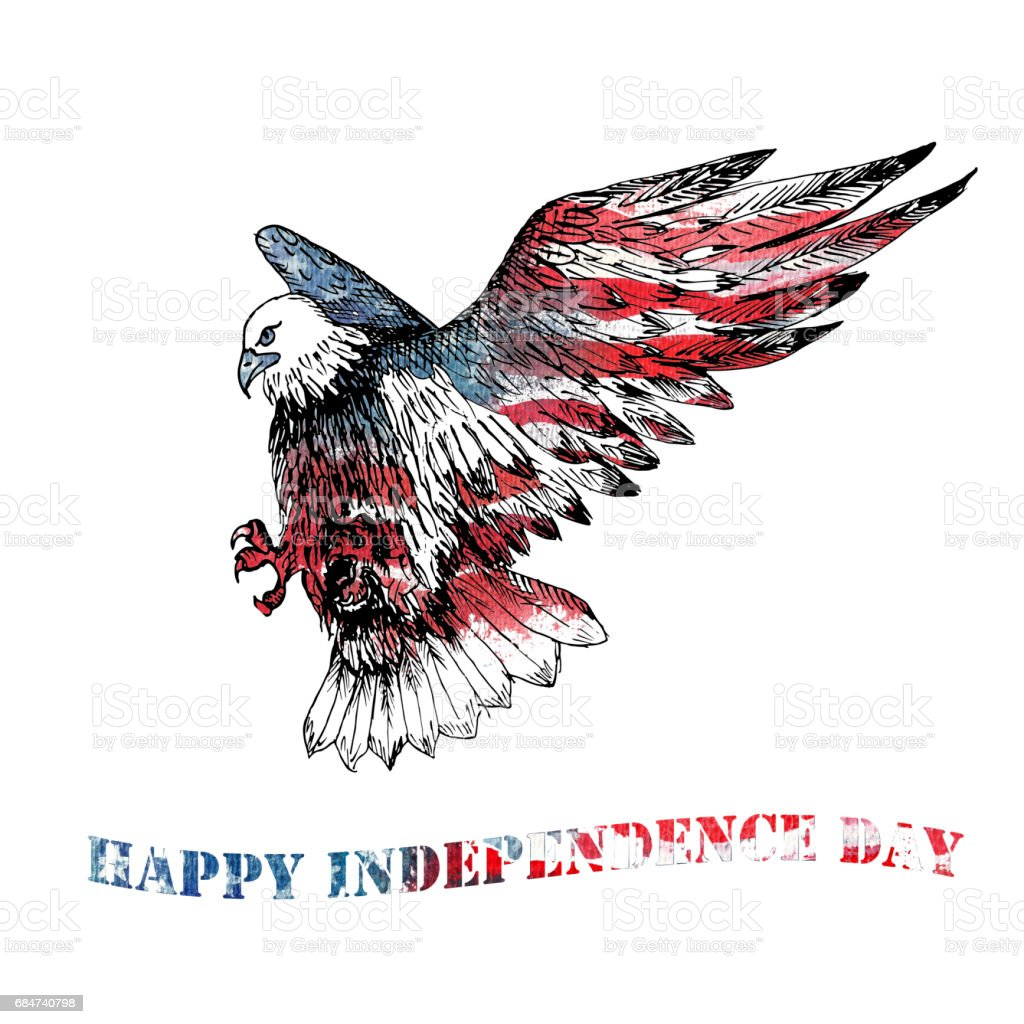 Watercolor Happy Independence Day greeting card. vector art illustration