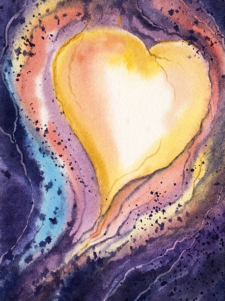 Watercolor heart in various colors vector art illustration