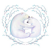 Watercolor Heart Shape Wreath and Two Polar Bears
